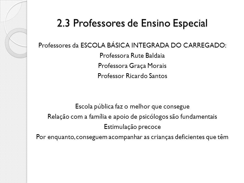 2.3 Professores de Ensino Especial Professores da ESCOLA BÁSICA INTEGRADA DO CARREGADO: Professora Rute Baldaia Professora Graça Morais Professor Rica