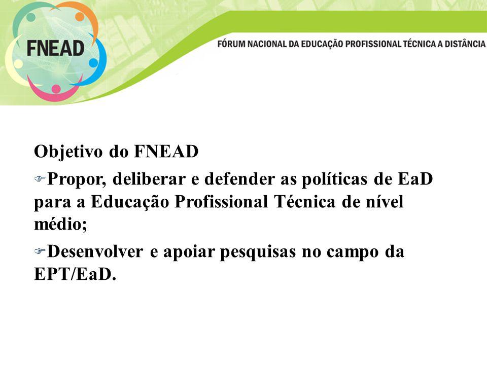 Objetivo do FNEAD F Propor, deliberar e defender as políticas de EaD para a Educação Profissional Técnica de nível médio; F Desenvolver e apoiar pesquisas no campo da EPT/EaD.
