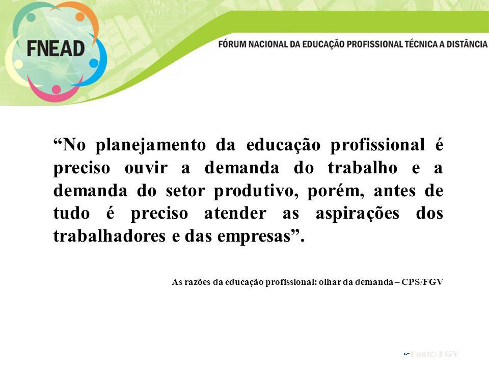F Fonte: FGV No planejamento da educação profissional é preciso ouvir a demanda do trabalho e a demanda do setor produtivo, porém, antes de tudo é preciso atender as aspirações dos trabalhadores e das empresas.