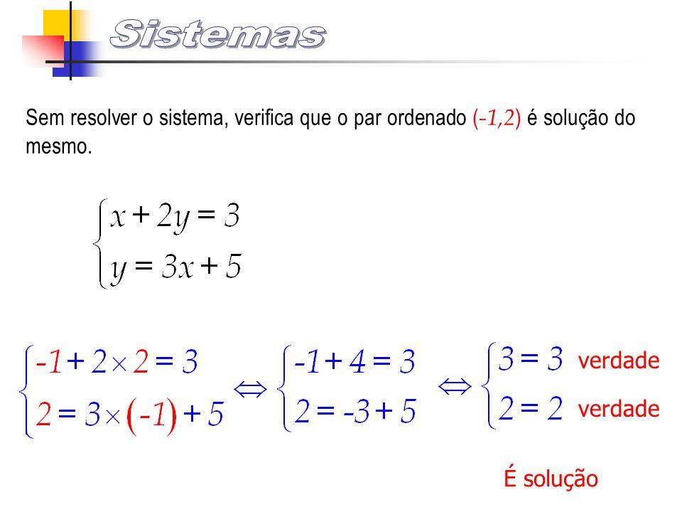 Sem resolver o sistema, verifica que o par ordenado ( -1,2 ) é solução do mesmo. verdade É solução