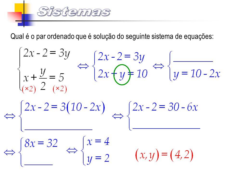 Qual é o par ordenado que é solução do seguinte sistema de equações: