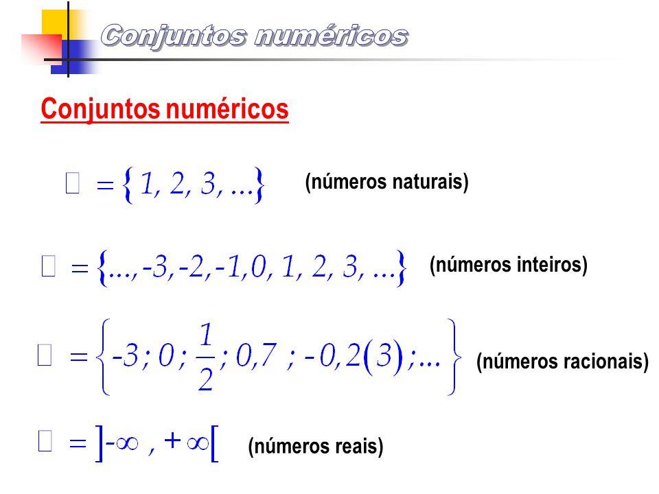 Conjuntos numéricos (números naturais) (números inteiros) (números racionais) (números reais)