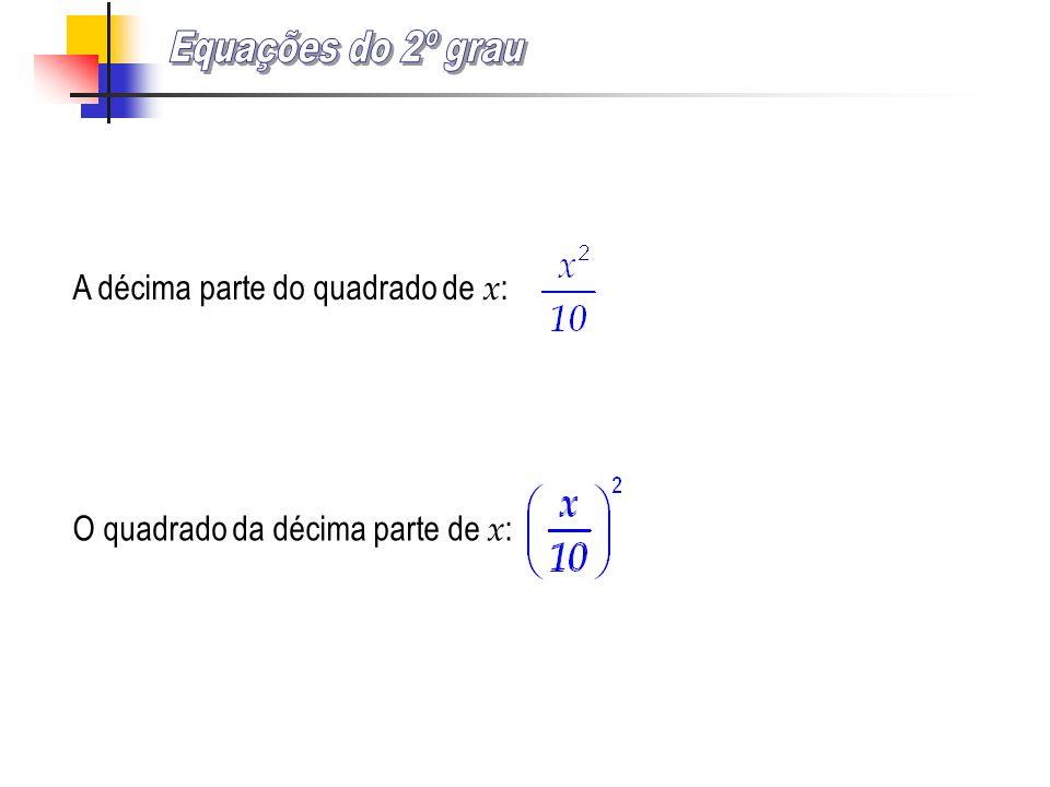 A décima parte do quadrado de x : O quadrado da décima parte de x :