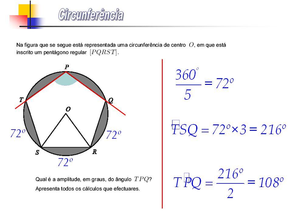 t é uma recta tangente à circunferência no ponto A. Determina a amplitude dos ângulos ABC e DAB. Justifica a tua resposta., um ângulo inscrito numa se