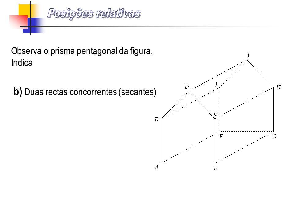Observa o prisma pentagonal da figura. Indica b) Duas rectas concorrentes (secantes)