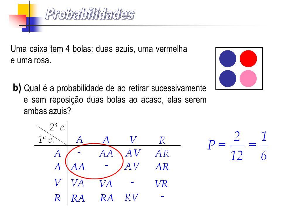 Uma caixa tem 4 bolas: duas azuis, uma vermelha e uma rosa. a) Qual é a probabilidade de ao retirar uma bola ao acaso, ela ser vermelha? Fracção irred