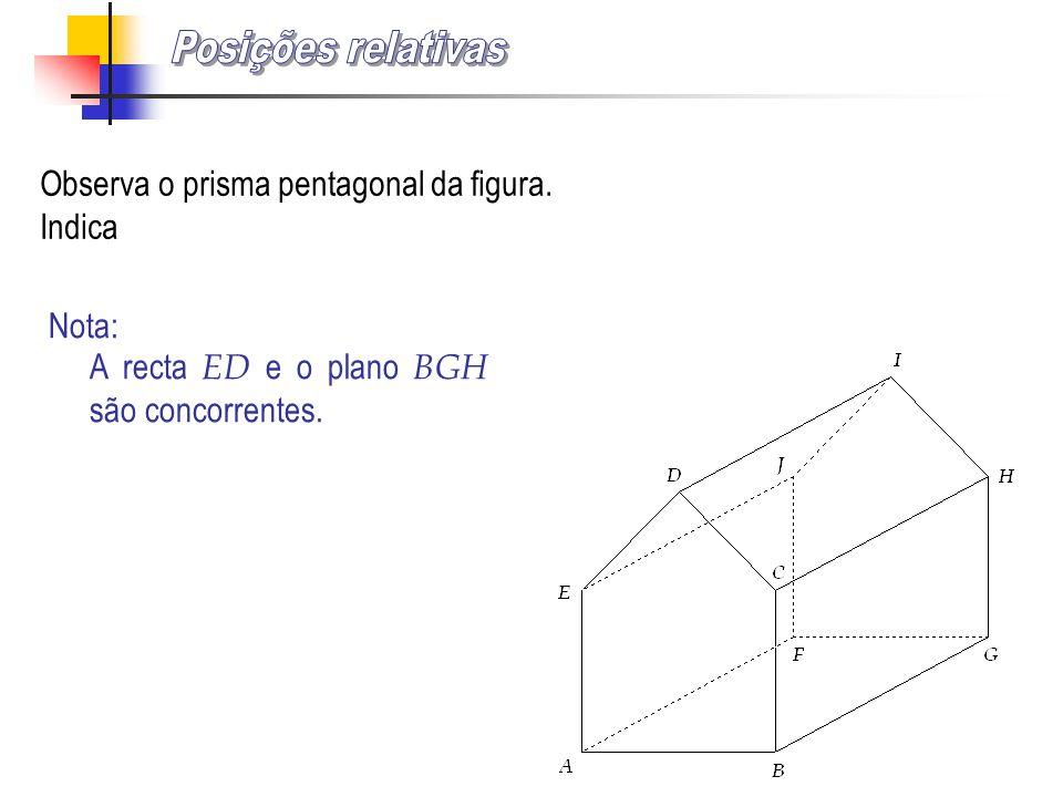 Observa o prisma pentagonal da figura. Indica i) Uma recta oblíqua ao plano BGH