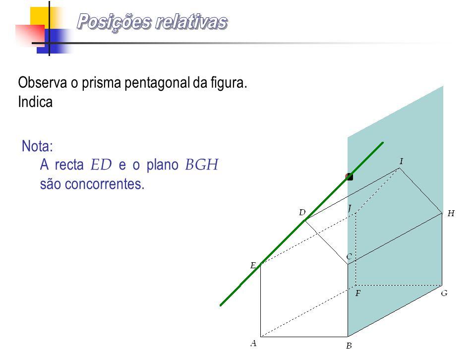 Observa o prisma pentagonal da figura. Indica Nota: A recta ED e o plano BGH são concorrentes.