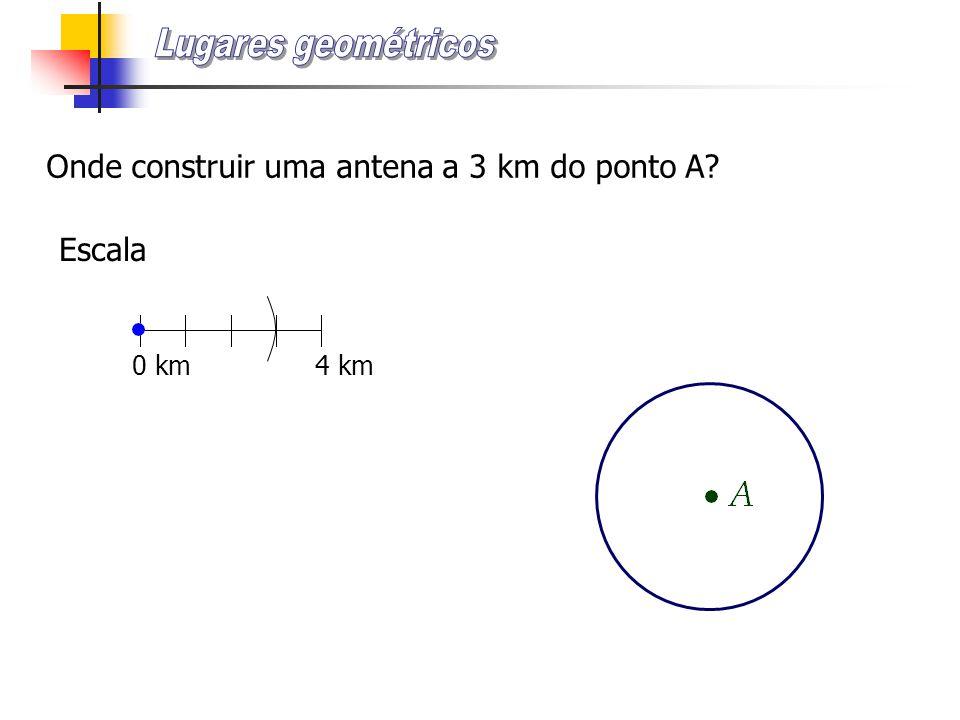 Onde construir uma antena a mais de 3 km do ponto A?