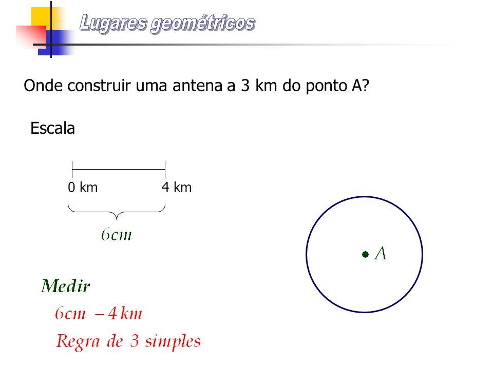 Onde construir uma antena a 3 km do ponto A? Escala 0 km 4 km