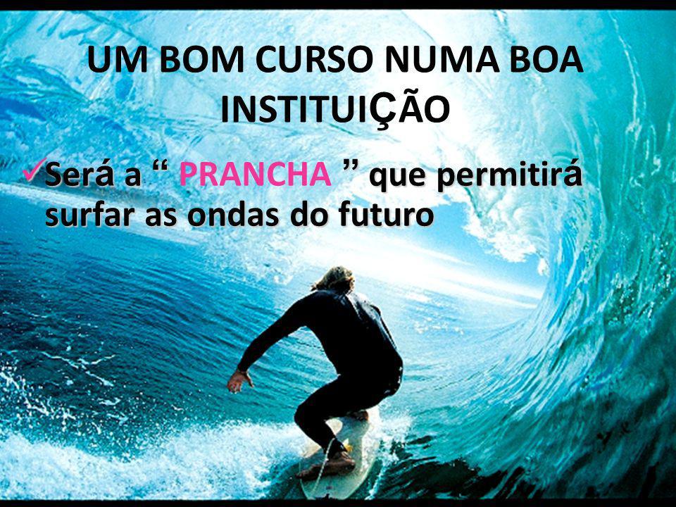 Ser á a que permitir á surfar as ondas do futuro Ser á a PRANCHA que permitir á surfar as ondas do futuro UM BOM CURSO NUMA BOA INSTITUI Ç ÃO