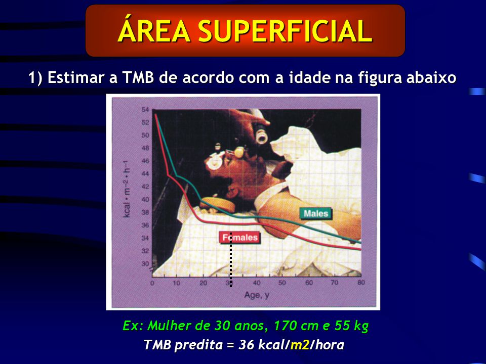 ÁREA SUPERFICIAL 1) Estimar a TMB de acordo com a idade na figura abaixo Ex: Mulher de 30 anos, 170 cm e 55 kg TMB predita = 36 kcal/m2/hora