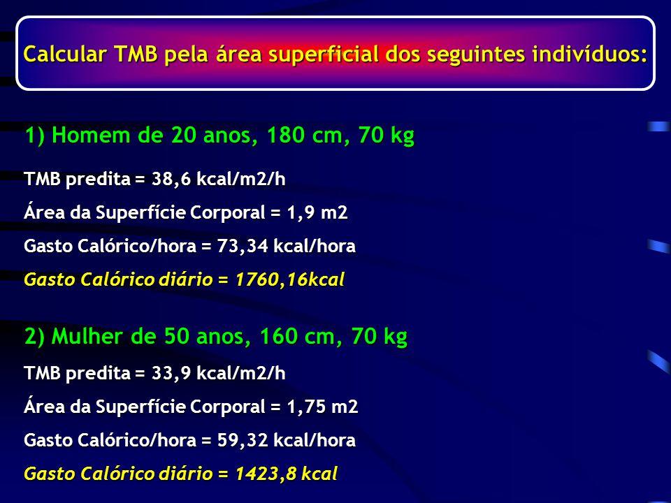 Calcular TMB pela área superficial dos seguintes indivíduos: TMB predita = 38,6 kcal/m2/h Área da Superfície Corporal = 1,9 m2 Gasto Calórico/hora = 73,34 kcal/hora Gasto Calórico diário = 1760,16kcal TMB predita = 33,9 kcal/m2/h Área da Superfície Corporal = 1,75 m2 Gasto Calórico/hora = 59,32 kcal/hora Gasto Calórico diário = 1423,8 kcal 2) Mulher de 50 anos, 160 cm, 70 kg 1) Homem de 20 anos, 180 cm, 70 kg
