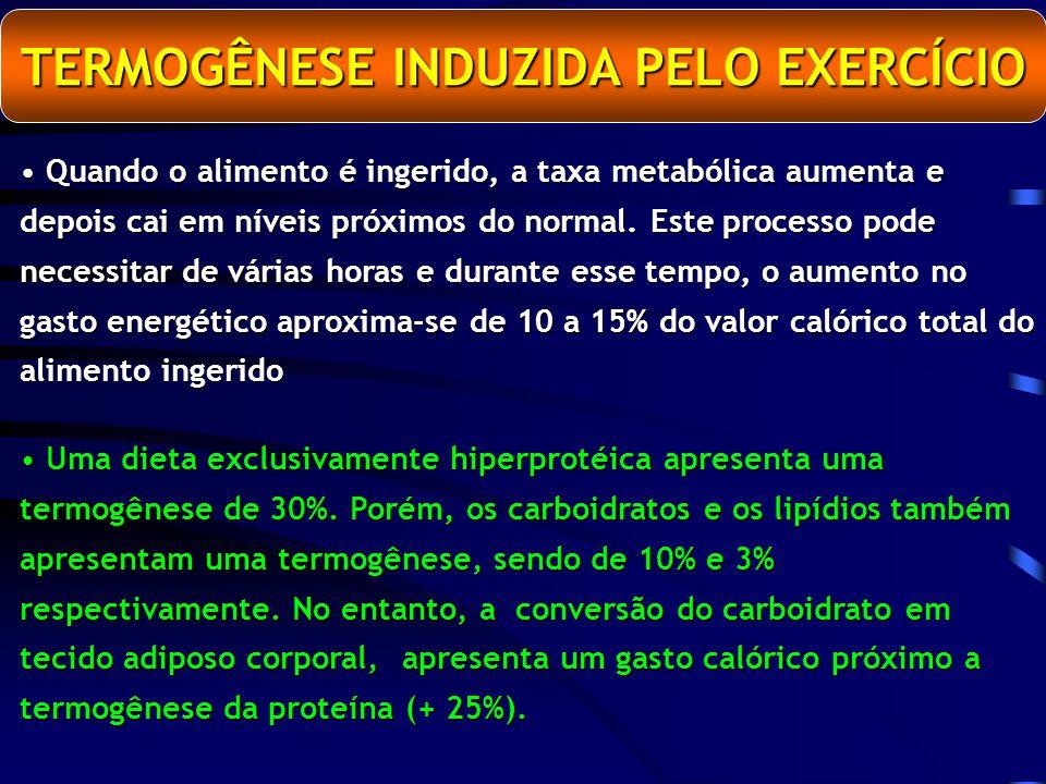 TERMOGÊNESE INDUZIDA PELO EXERCÍCIO Quando o alimento é ingerido, a taxa metabólica aumenta e depois cai em níveis próximos do normal.