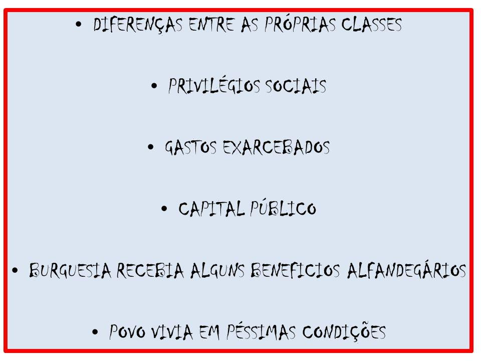 DIFERENÇAS ENTRE AS PRÓPRIAS CLASSES PRIVILÉGIOS SOCIAIS GASTOS EXARCEBADOS CAPITAL PÚBLICO BURGUESIA RECEBIA ALGUNS BENEFICIOS ALFANDEGÁRIOS POVO VIV