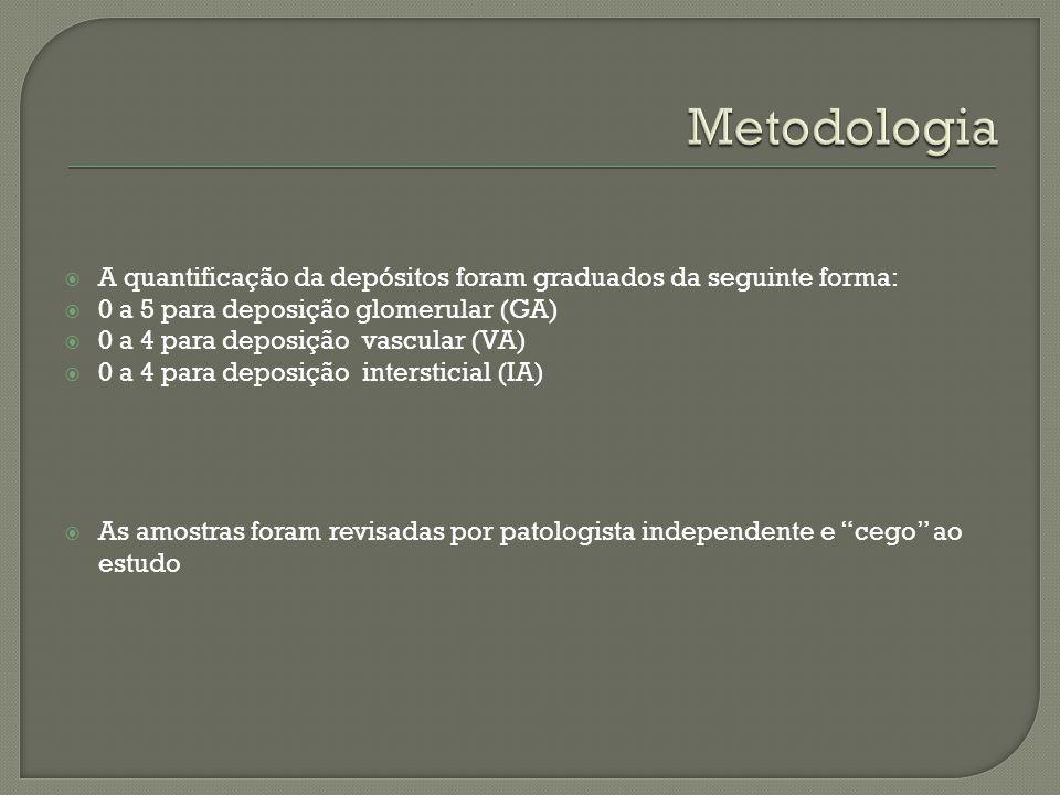 A quantificação da depósitos foram graduados da seguinte forma: 0 a 5 para deposição glomerular (GA) 0 a 4 para deposição vascular (VA) 0 a 4 para dep