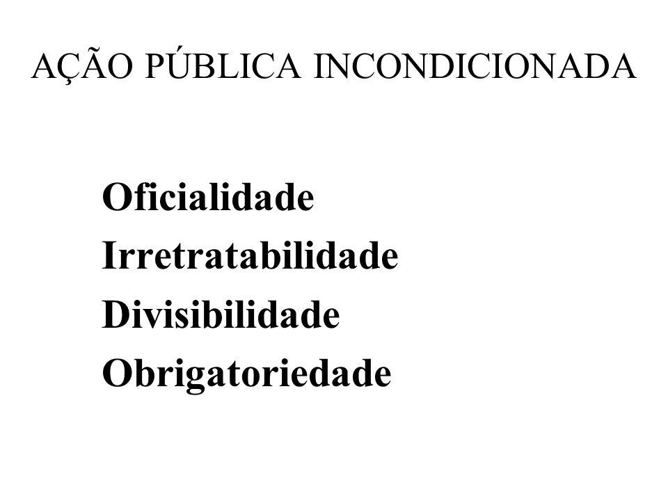 AÇÃO PÚBLICA INCONDICIONADA Oficialidade Irretratabilidade Divisibilidade Obrigatoriedade