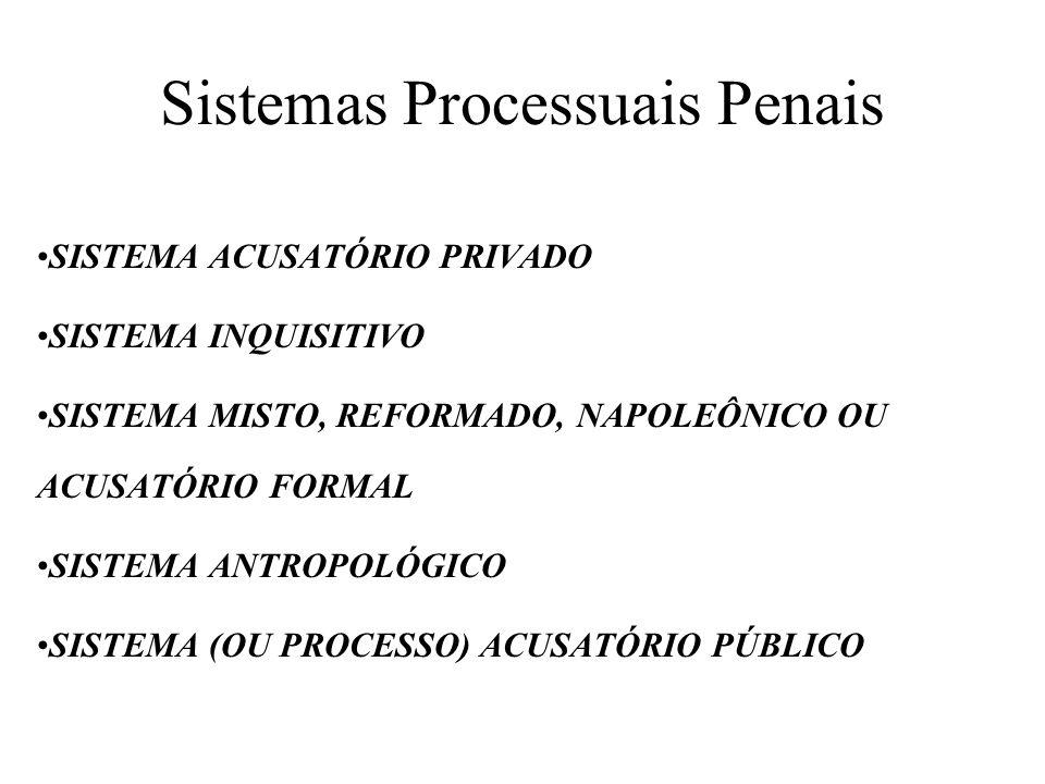 Sistemas Processuais Penais SISTEMA ACUSATÓRIO PRIVADO SISTEMA INQUISITIVO SISTEMA MISTO, REFORMADO, NAPOLEÔNICO OU ACUSATÓRIO FORMAL SISTEMA ANTROPOLÓGICO SISTEMA (OU PROCESSO) ACUSATÓRIO PÚBLICO