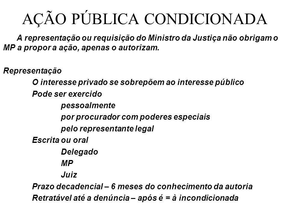 AÇÃO PÚBLICA CONDICIONADA A representação ou requisição do Ministro da Justiça não obrigam o MP a propor a ação, apenas o autorizam.