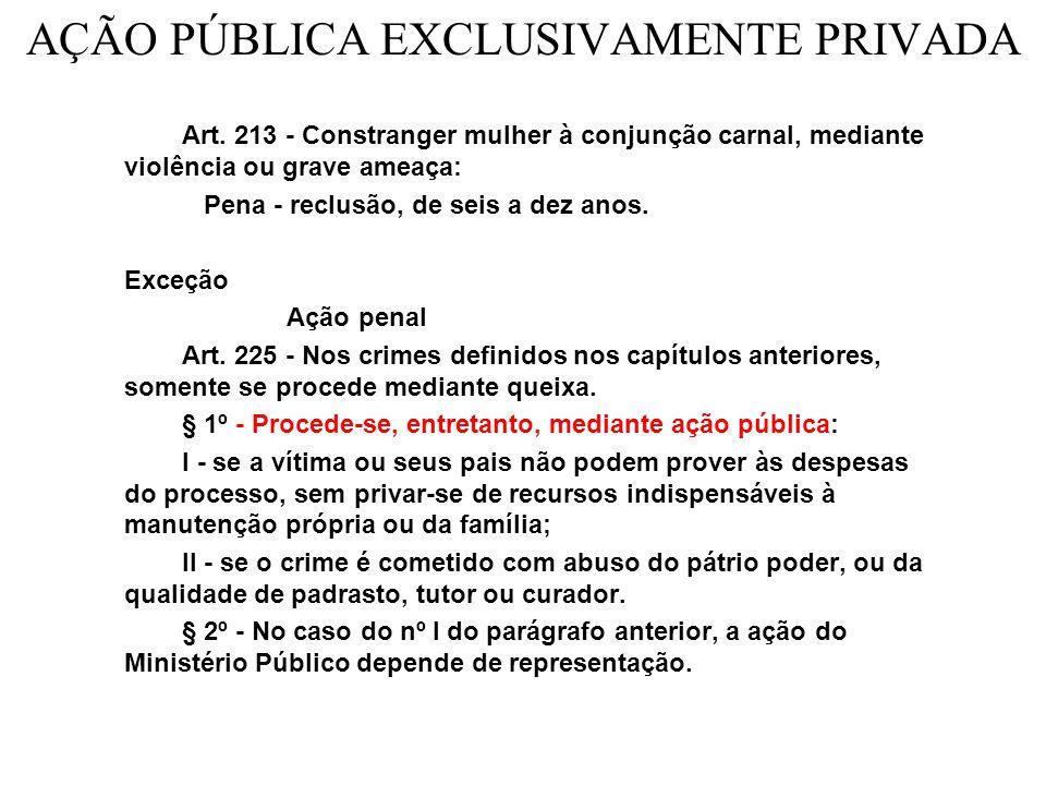 AÇÃO PÚBLICA EXCLUSIVAMENTE PRIVADA Art.