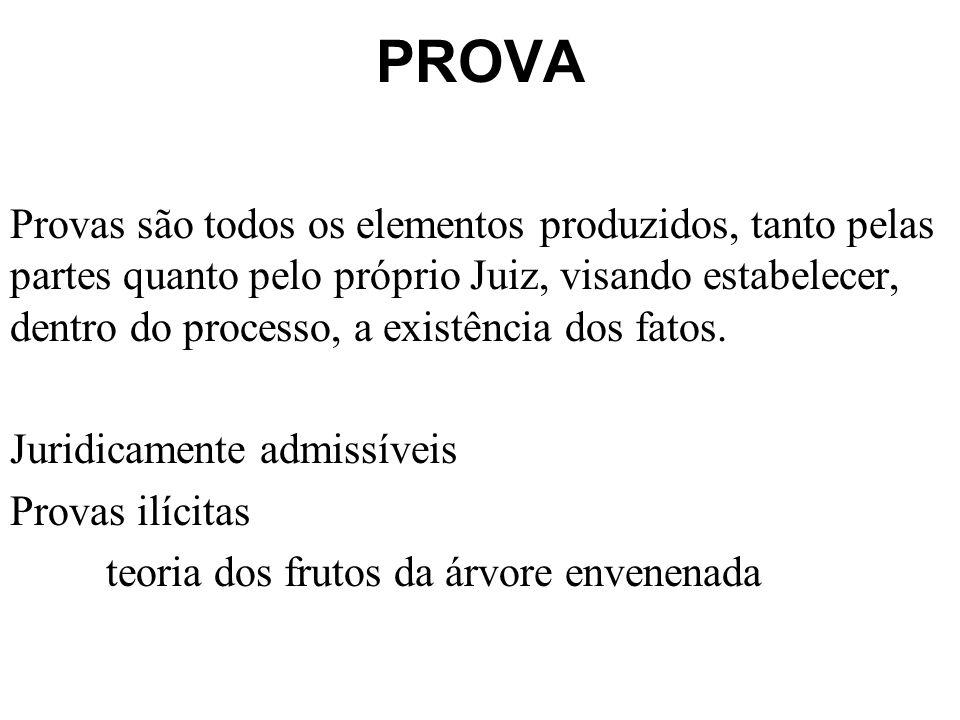PROVA Provas são todos os elementos produzidos, tanto pelas partes quanto pelo próprio Juiz, visando estabelecer, dentro do processo, a existência dos fatos.