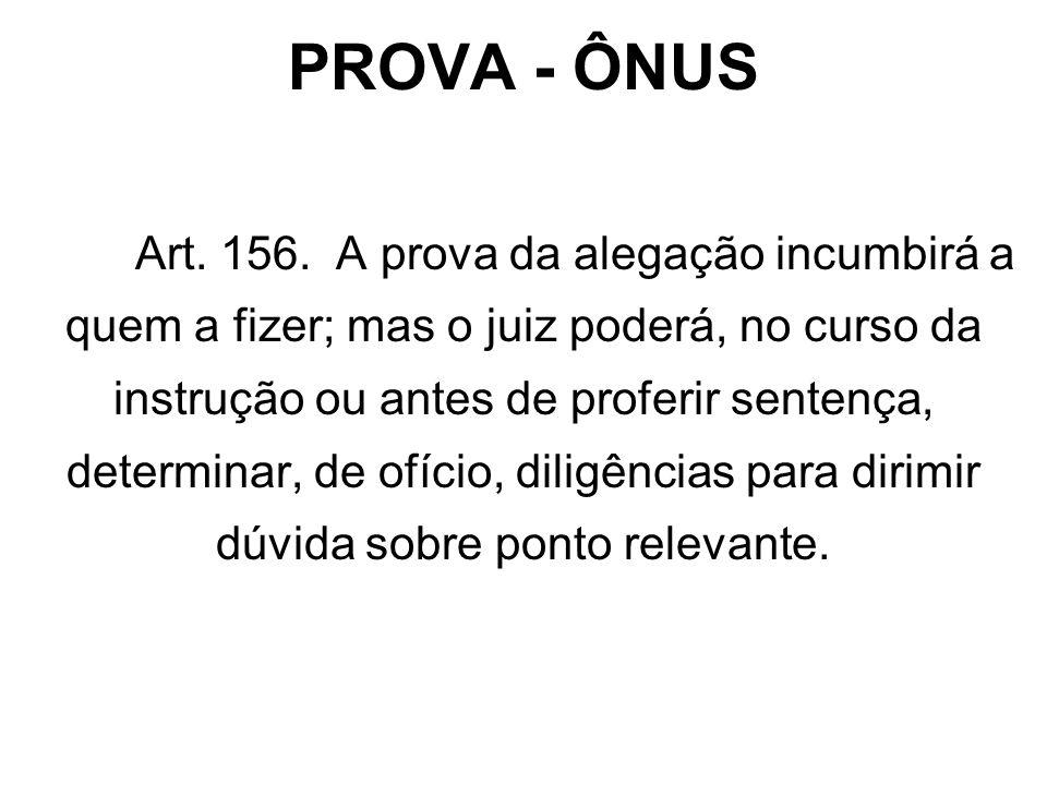 PROVA - ÔNUS Art.156.