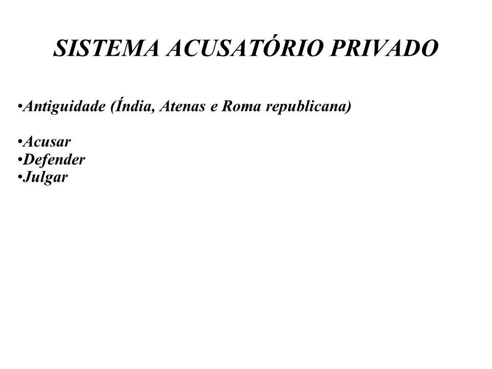 SISTEMA ACUSATÓRIO PRIVADO Antiguidade (Índia, Atenas e Roma republicana) Acusar Defender Julgar