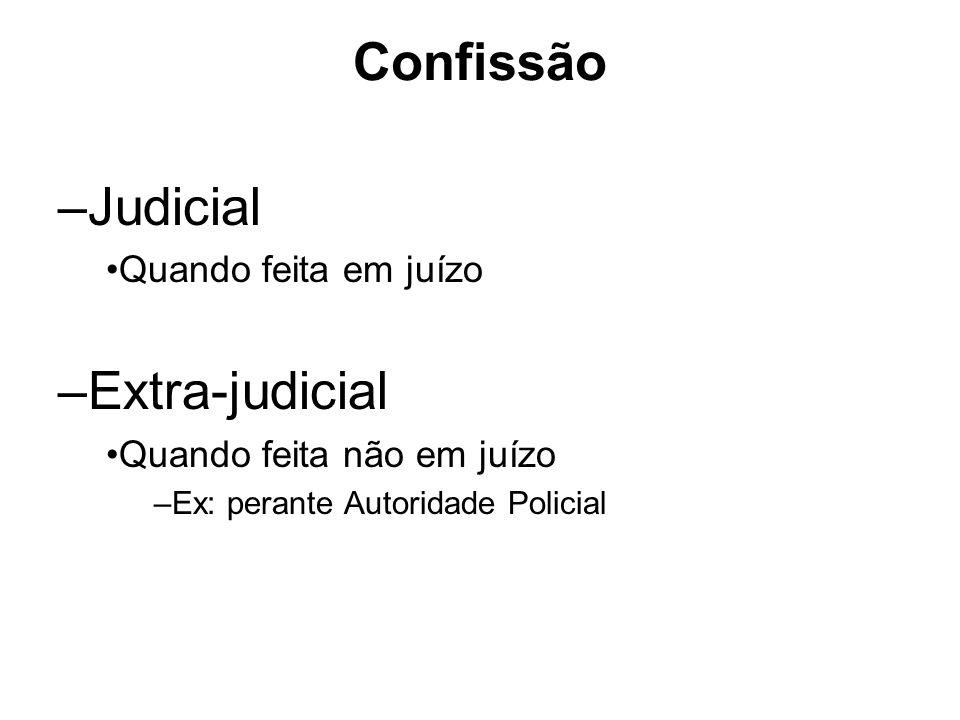 Confissão –Judicial Quando feita em juízo –Extra-judicial Quando feita não em juízo –Ex: perante Autoridade Policial