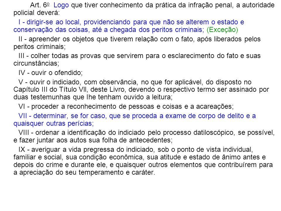 Art. 6 o Logo que tiver conhecimento da prática da infração penal, a autoridade policial deverá: I - dirigir-se ao local, providenciando para que não