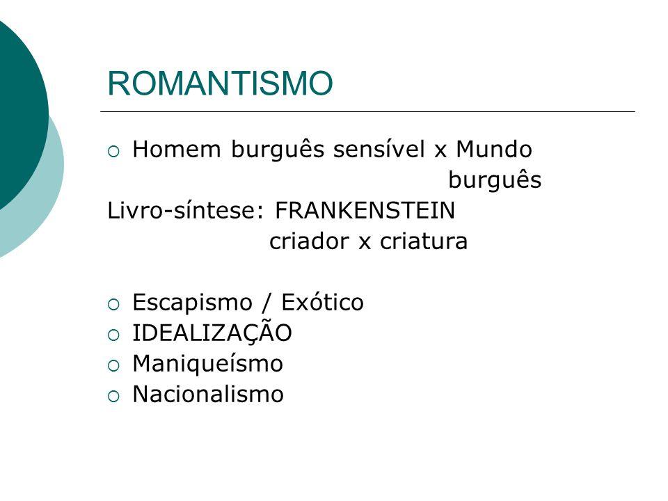 ROMANTISMO Homem burguês sensível x Mundo burguês Livro-síntese: FRANKENSTEIN criador x criatura Escapismo / Exótico IDEALIZAÇÃO Maniqueísmo Nacionali