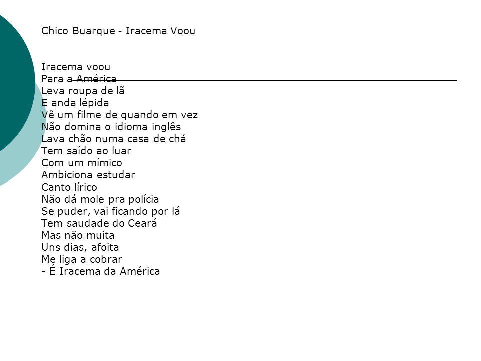Chico Buarque - Iracema Voou Iracema voou Para a América Leva roupa de lã E anda lépida Vê um filme de quando em vez Não domina o idioma inglês Lava c