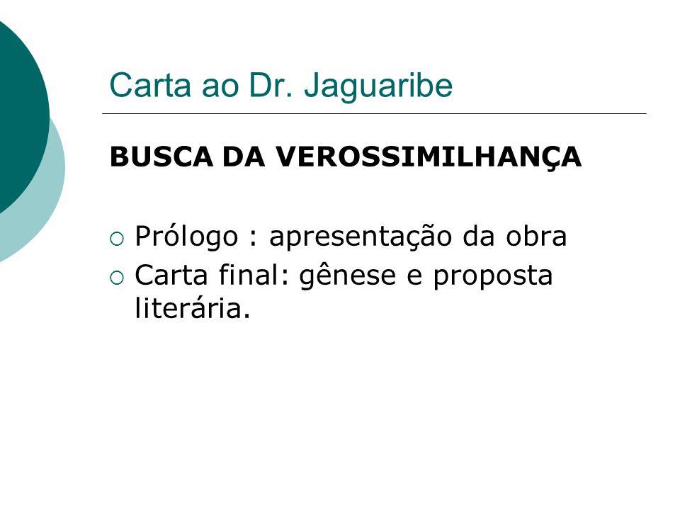 Carta ao Dr. Jaguaribe BUSCA DA VEROSSIMILHANÇA Prólogo : apresentação da obra Carta final: gênese e proposta literária.