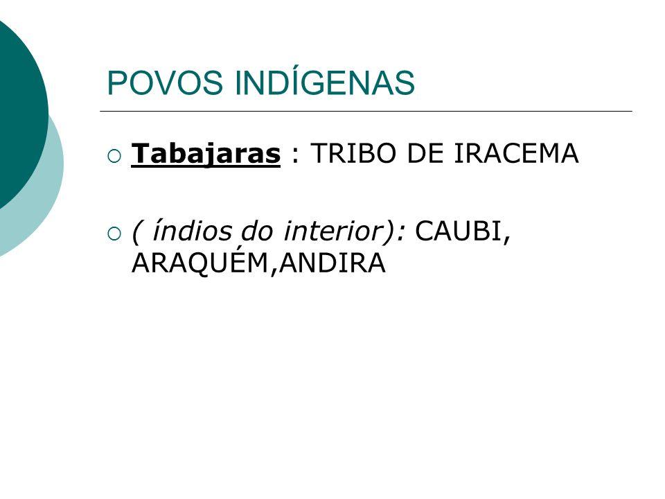 POVOS INDÍGENAS Tabajaras : TRIBO DE IRACEMA ( índios do interior): CAUBI, ARAQUÉM,ANDIRA