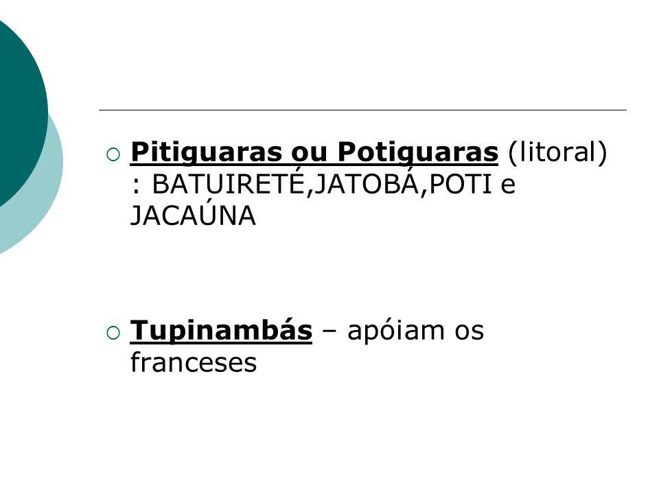 Pitiguaras ou Potiguaras (litoral) : BATUIRETÉ,JATOBÁ,POTI e JACAÚNA Tupinambás – apóiam os franceses