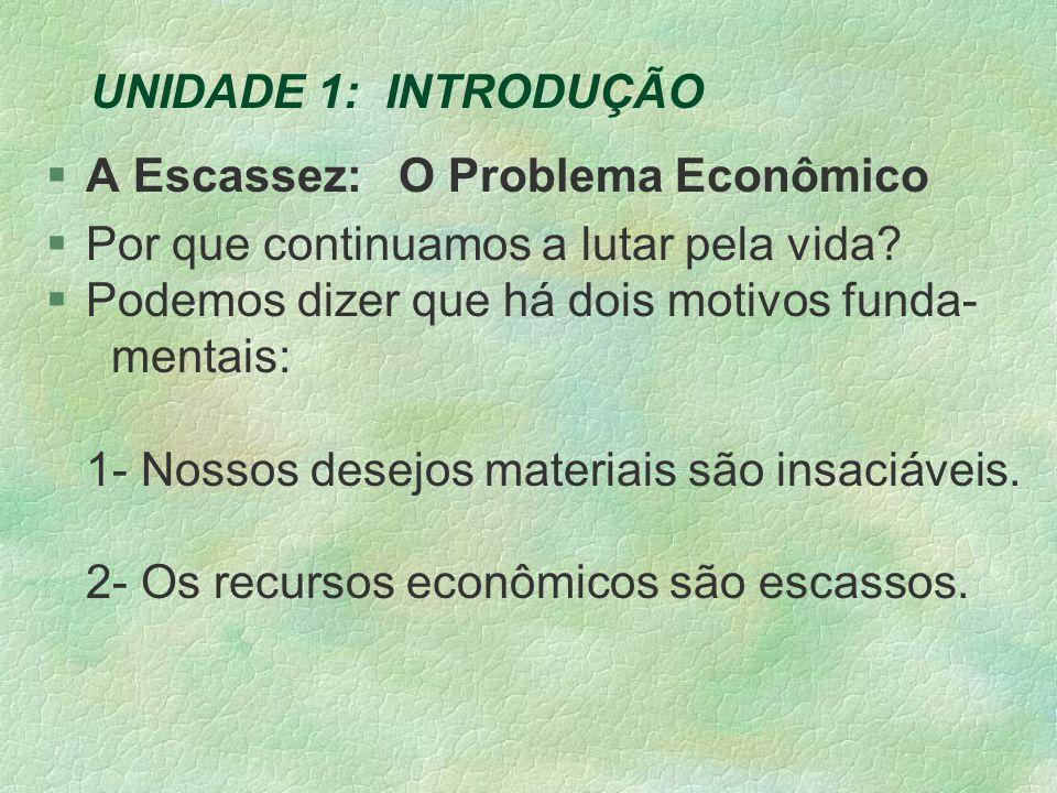 UNIDADE 1: INTRODUÇÃO §A Escassez: O Problema Econômico §Por que continuamos a lutar pela vida.