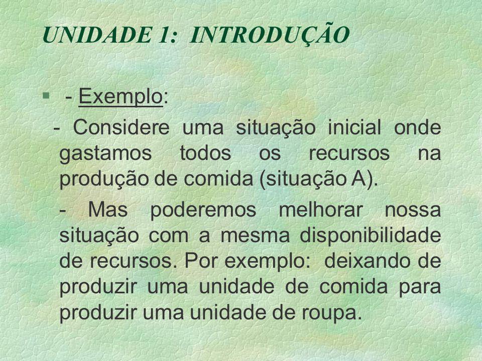 UNIDADE 1: INTRODUÇÃO § - Exemplo: - Considere uma situação inicial onde gastamos todos os recursos na produção de comida (situação A).