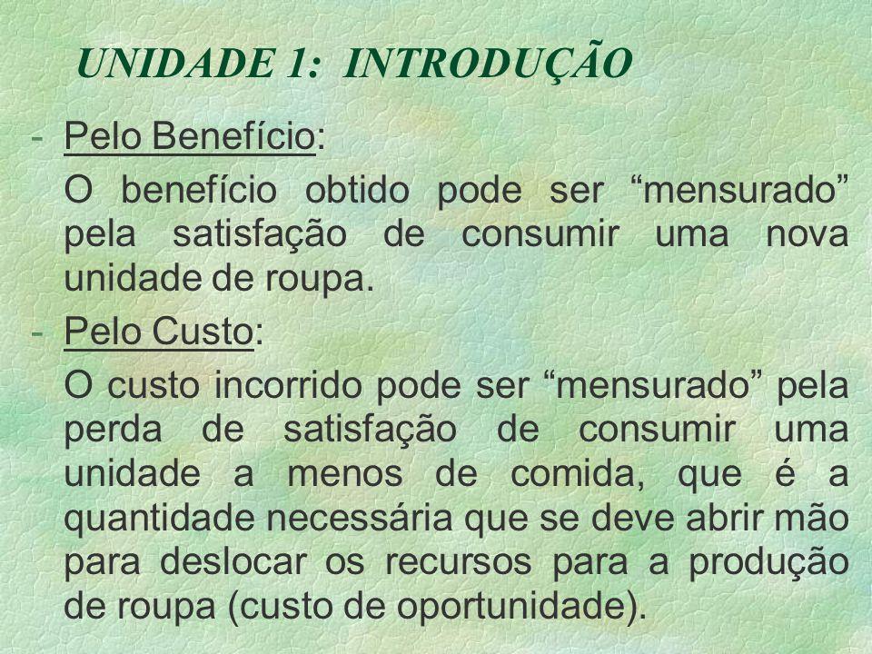 UNIDADE 1: INTRODUÇÃO -Pelo Benefício: O benefício obtido pode ser mensurado pela satisfação de consumir uma nova unidade de roupa.