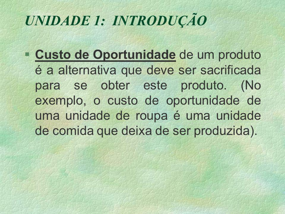 UNIDADE 1: INTRODUÇÃO §Custo de Oportunidade de um produto é a alternativa que deve ser sacrificada para se obter este produto.