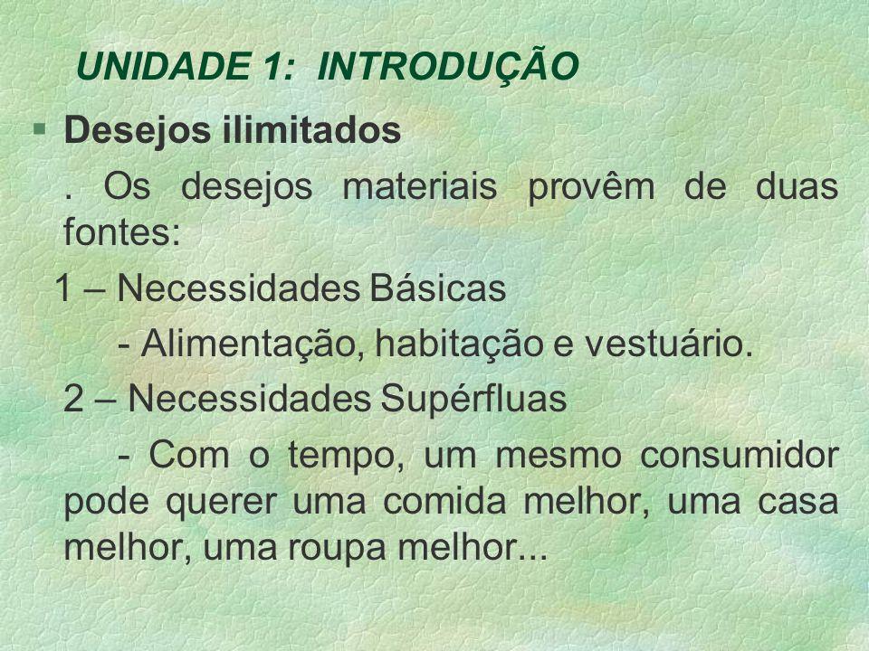 UNIDADE 1: INTRODUÇÃO §Desejos ilimitados.