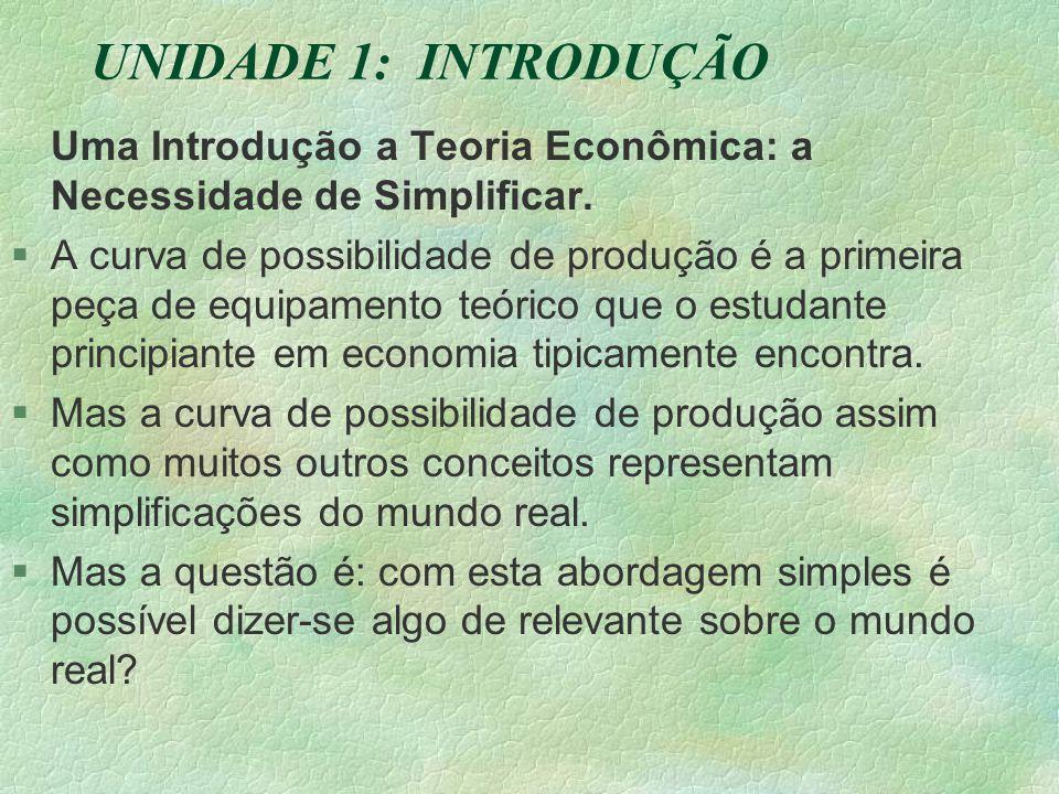 UNIDADE 1: INTRODUÇÃO Uma Introdução a Teoria Econômica: a Necessidade de Simplificar.