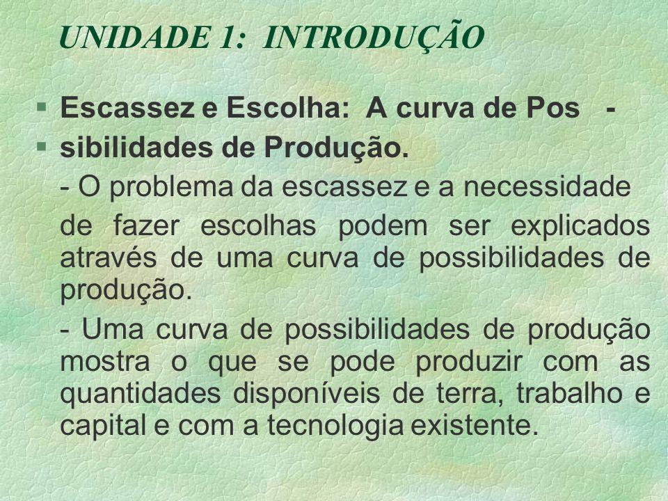 UNIDADE 1: INTRODUÇÃO §Escassez e Escolha: A curva de Pos - §sibilidades de Produção.