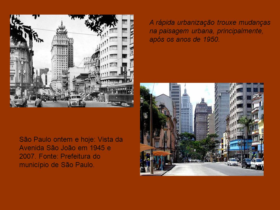 São Paulo ontem e hoje: Vista da Avenida São João em 1945 e 2007.