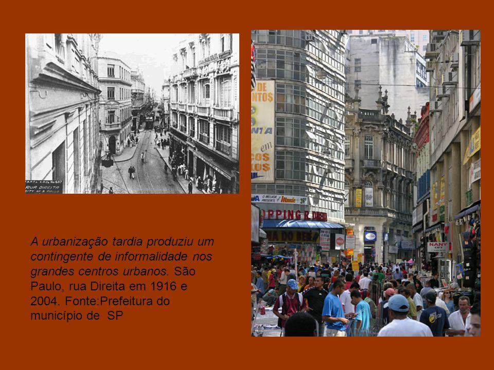 São Paulo ontem e hoje: Vista da Avenida São João em 1945 e 2007. Fonte: Prefeitura do município de São Paulo. A rápida urbanização trouxe mudanças na