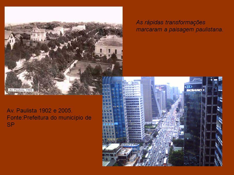 A urbanização tardia produziu um contingente de informalidade nos grandes centros urbanos. São Paulo, rua Direita em 1916 e 2004. Fonte:Prefeitura do