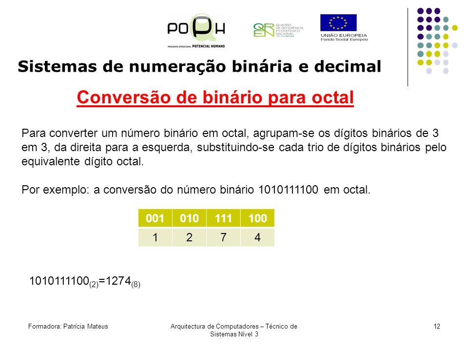 11Formadora: Patrícia MateusArquitectura de Computadores – Técnico de Sistemas Nível 3 Sistemas de numeração binária e decimal Exercícios: Converta de decimal para binário Converta de binário para decimal 11 (10) 74 (10) 256 (10) 36 (10) 24 (10) 128 (10) 51 (10) 17 (10) 33 (10) 100011 (2) 110011 (2) 11000000 (2) 101010 (2) 1100 (2) 1000101 (2) 10101000 (2) 1110101 (2)