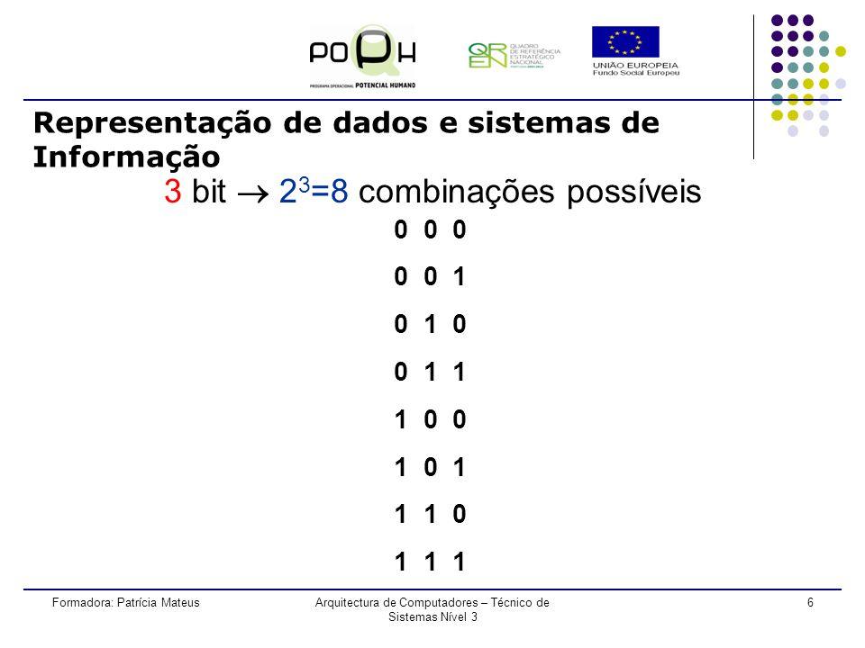 5Formadora: Patrícia MateusArquitectura de Computadores – Técnico de Sistemas Nível 3 Representação de dados e sistemas de Informação 2 bit 2 2 =4 combinações possíveis 0 0 1 1 0 1