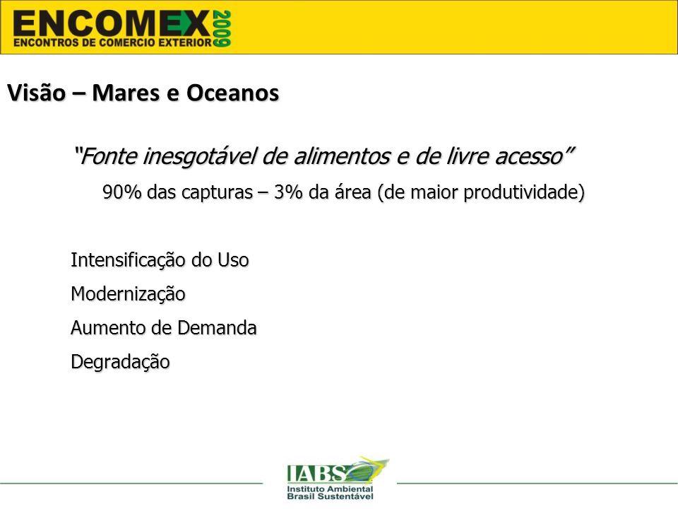 Fonte inesgotável de alimentos e de livre acesso 90% das capturas – 3% da área (de maior produtividade) Intensificação do Uso Modernização Aumento de Demanda Degradação Visão – Mares e Oceanos