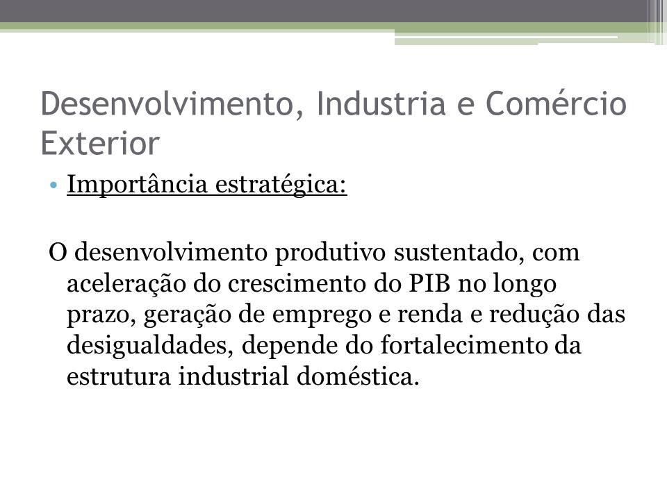 Desenvolvimento, Industria e Comércio Exterior Importância estratégica: O desenvolvimento produtivo sustentado, com aceleração do crescimento do PIB n