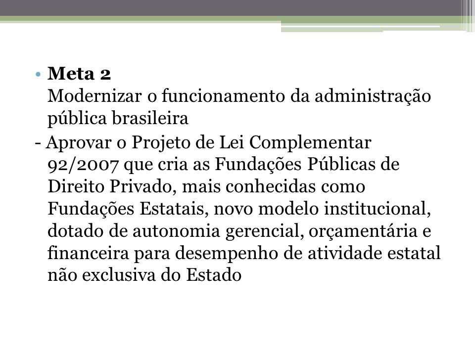 Meta 2 Modernizar o funcionamento da administração pública brasileira - Aprovar o Projeto de Lei Complementar 92/2007 que cria as Fundações Públicas d