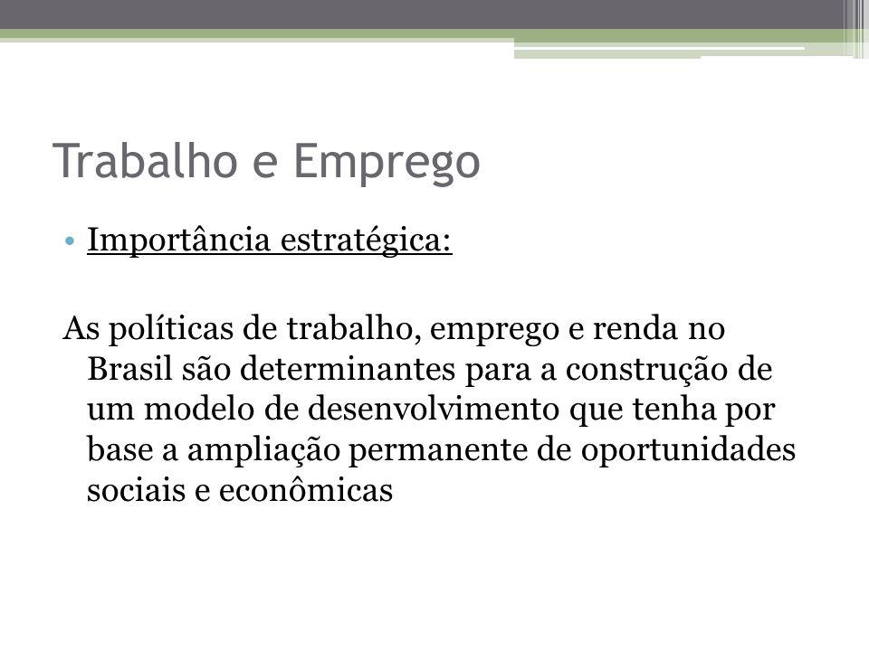 Trabalho e Emprego Importância estratégica: As políticas de trabalho, emprego e renda no Brasil são determinantes para a construção de um modelo de de